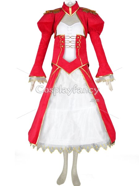 Fate/stay Night Saber Red & White Cosplay Costume