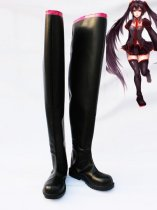 Vocaloid Zatsune Miku Black Leather Cosplay High Boots