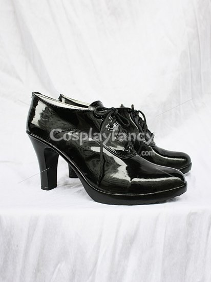 Black Butler Grell Sutcliff Shiny Black Cosplay Anckle Boots - Click Image to Close