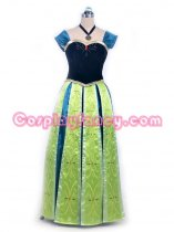 Frozen Princess Anna of Arendelle Crowned Formal Dress Cosplay Costume