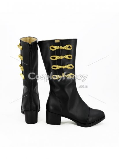 Final Fantasy XIV Black & Gold Female Cosplay Boots - Click Image to Close