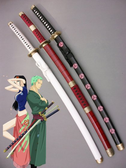 2015 One Piece Roronoa Zoro Whole 3 Wood Cosplay Weapon Swords