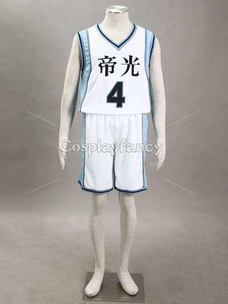 Kuroko no Basketball Seijuro Akashi Teiko Middle School basketball team Uniform Cosplay Costume White Number 4