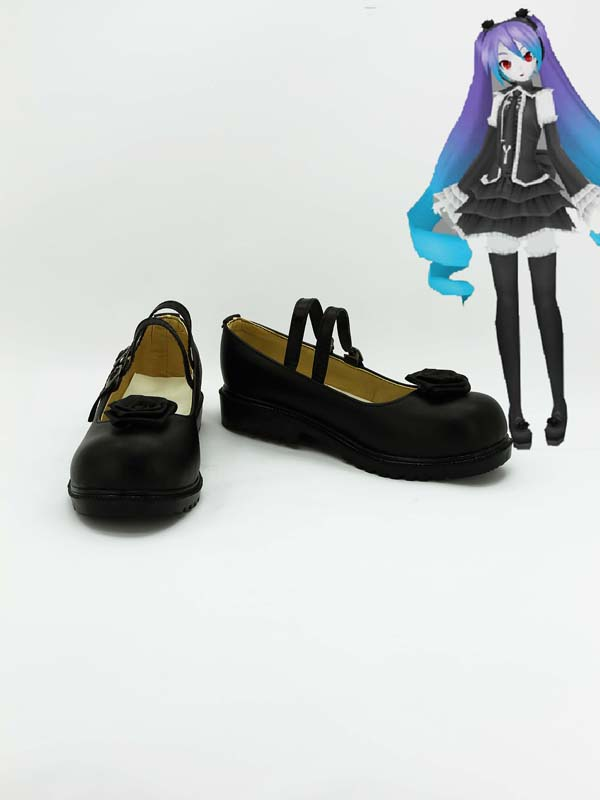 Vocaloid Hatsune Miku Black Artificial Leather Cosplay Shoes